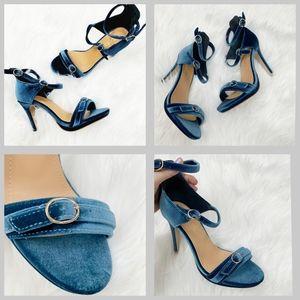 Betani Blue Velvet Stiletto open toe Heel Sandals